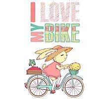 Cute rabbit riding a bike Photographic Print
