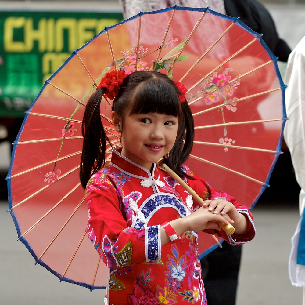 chinese girl with umbrella by yewenyi