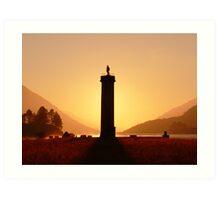 Glenfinnan Monument in the Winter Sunset. Art Print