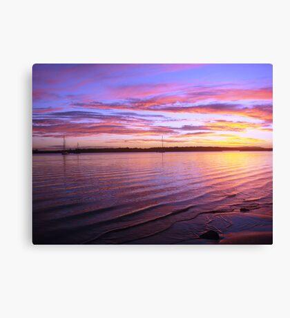 Purple Bay-Boat Sunset Canvas Print