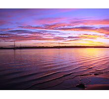 Purple Bay-Boat Sunset Photographic Print