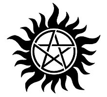Supernatural Protection Tattoo (Black) Photographic Print
