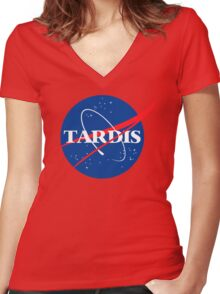 Dr Who Tardis T-Shirt Women's Fitted V-Neck T-Shirt