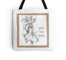 You Are Here Anatomical Heart Tote Bag