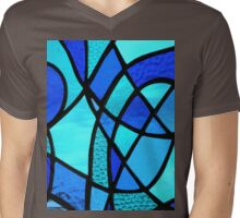 """Stained Glass Abstract """"Blues 1"""" Mens V-Neck T-Shirt"""