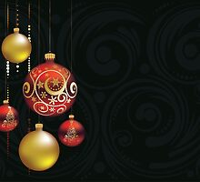 Red and Gold Christmas Balls by AnnArtshock