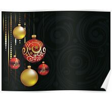 Red and Gold Christmas Balls Poster