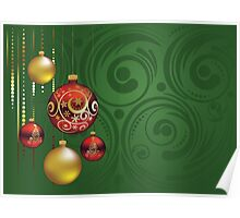 Red and Gold Christmas Balls 3 Poster
