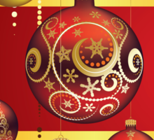 Red and Gold Christmas Balls 4 Sticker