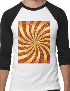 Red background with golden rays 2 Men's Baseball ¾ T-Shirt