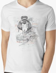 Geisha Peace Mens V-Neck T-Shirt