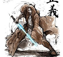 Jedi Knight from Star Wars with calligraphy by Mycks
