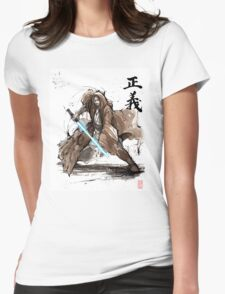 Jedi Knight from Star Wars with calligraphy Womens Fitted T-Shirt