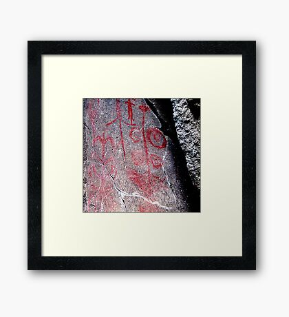 """Hemitite Pictographs from 10,000 B.C. in """"Picture Gorge"""", Oregon Framed Print"""