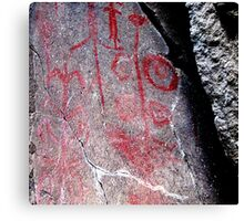 """Hemitite Pictographs from 10,000 B.C. in """"Picture Gorge"""", Oregon Canvas Print"""