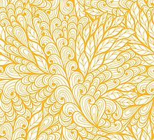 Orange and white doodle floral pattern by Patternalized