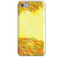 Orange and green floral design iPhone Case/Skin