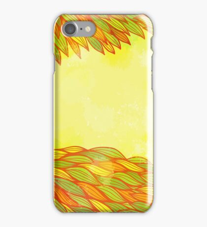 Orange and green floral design iPhone Case/Skin