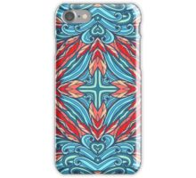 Pink and blue floral ornament iPhone Case/Skin
