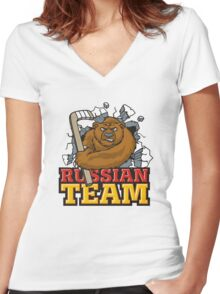 Russian hockey team Women's Fitted V-Neck T-Shirt