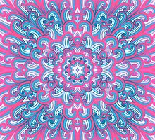 Hand drawn ethnic pink and blue ornament by Patternalized