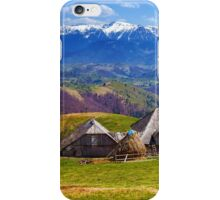 Wooden house and mountains panorama iPhone Case/Skin