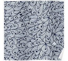 Blue doodle pattern with sky Poster