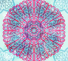 Pink and blue mandala by Patternalized