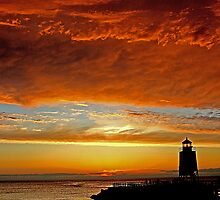 Fire in the Sky -- Charlevoix Sunset, Michigan by John Carpenter