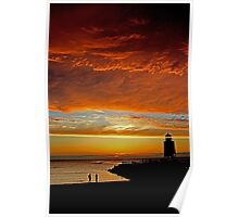 Fire in the Sky -- Charlevoix Sunset, Michigan Poster