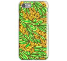Orange and green bright doodle pattern iPhone Case/Skin