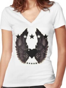 Rebel love emblem Women's Fitted V-Neck T-Shirt