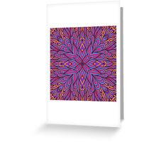 Pink and blue floral ornament Greeting Card