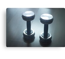 Dumbbell gym metal weights in gym health club Canvas Print
