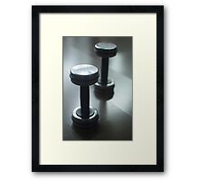 Dumbbell gym metal weights in gym health club Framed Print
