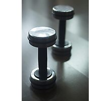 Dumbbell gym metal weights in gym health club Photographic Print