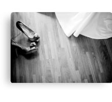 Wedding white dress and bridal shoes of bride on floor photo Canvas Print