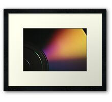 Closeup macro photo of shiny underside cd dvd disk Framed Print