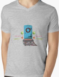 Welcome Blue Door and Stone Pathway Mens V-Neck T-Shirt