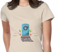 Welcome Blue Door and Stone Pathway Womens Fitted T-Shirt