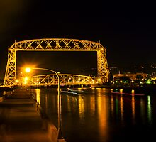 Duluth Aerial Lift Bridge at Night by Daniel Rens