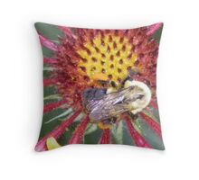 Indian Blanket Macro with bumble bee photo art print Throw Pillow