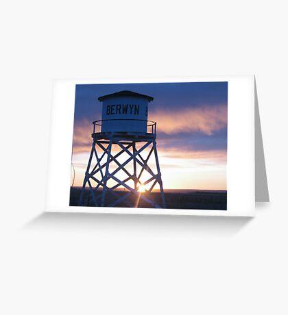 Berwyn water tower at sunrise Greeting Card