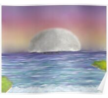 Landscape Seascape Sunrise Sunset moon Poster
