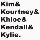 Kim & Kourtney & Khloe & Kendall & Kylie. by AlyssaSbisa