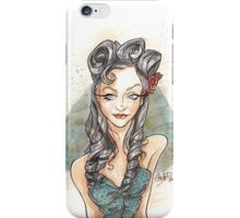 Pin Up Girl with a Blue Heart iPhone Case/Skin