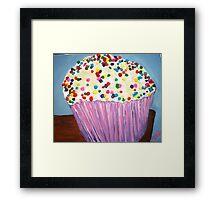 """Vanilla Cupcake With Sprinkles"" Framed Print"