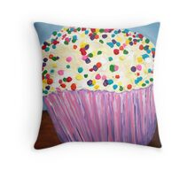 """Vanilla Cupcake With Sprinkles"" Throw Pillow"
