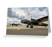 Two Lancasters taxying out at Waddington Greeting Card