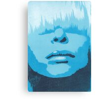 Face & Fringe Blue Canvas Print